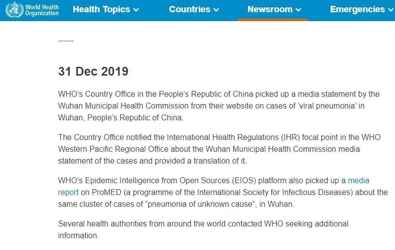 世界衛生組織更新的時間軸,曝光最早的通報是來自世衛駐中國代表處。(WHO官網)