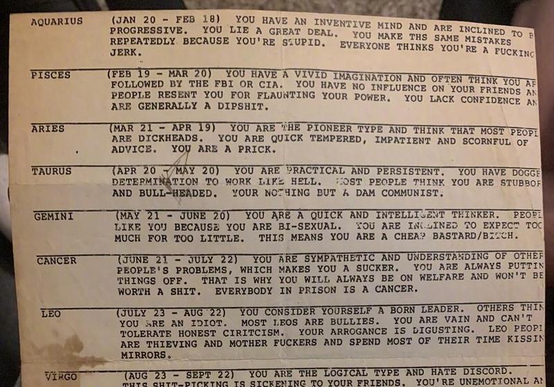 外國網民發現一張70年代的星座運勢書,網友將其翻成中文與大家分享。(翻攝自萬莉娜臉書)
