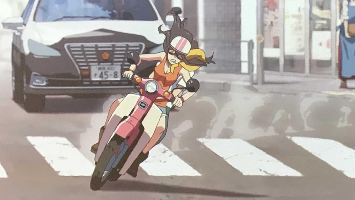 《天氣之子》中,須賀夏美騎著Super Cub 110在路上狂飆。(翻攝自Yahoo Japan)