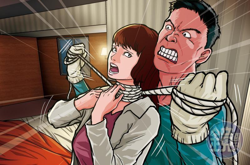 凶手用童軍繩勒住女學生脖子,直到她斷氣才罷手。(圖為示意畫面)