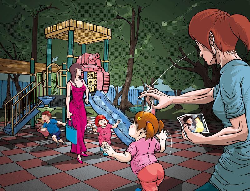張姓大亨外遇產女後,張妻請徵信社趁女童在公園玩時偷拔她頭髮驗DNA,結果與夫不相符,張妻大為振奮,但最後空歡喜一場,因為公園小朋友太多,拔到別家小孩頭髮。