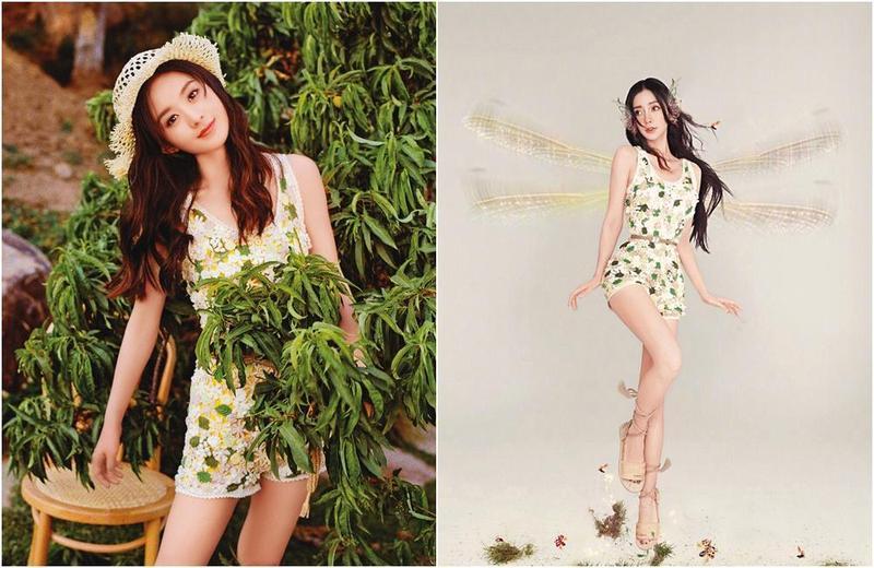 趙麗穎(左)近日穿上Dior的碎花連身短褲裝拍攝夏日時尚寫真,先被楊冪粉絲酸抄襲,又被發現是撿Angelababy的舊衣穿。(翻攝自Dior微博、時尚COSMO微博)