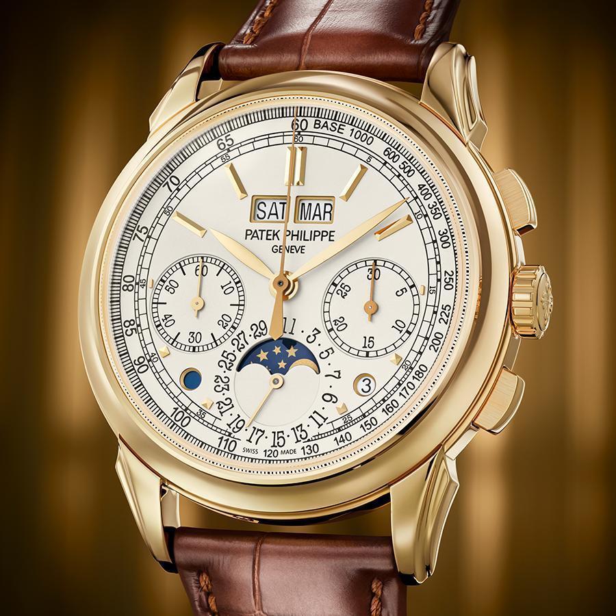 5270J-001萬年曆計時碼錶|錶徑41mm、黃金材質、CHR 29-535 PS Q手上鏈機芯、時間指示、萬年曆、計時碼錶功能、防水30米、建議售價NT$ 5,140,000