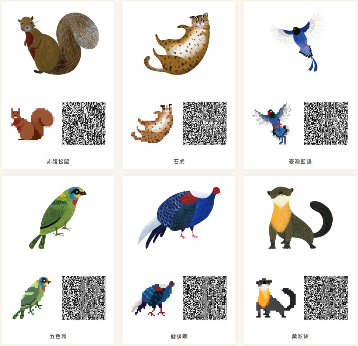 以「里山動物」系列插畫設計的素材。(翻攝自林務局官網)