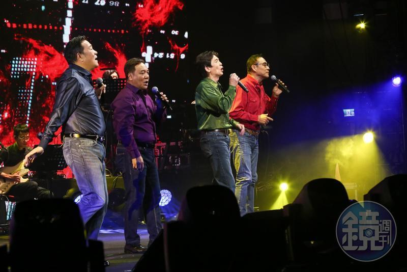 「民歌45高峰會」將加場唱進小巨蛋。左起李明德、施孝榮、殷正洋、王瑞瑜。