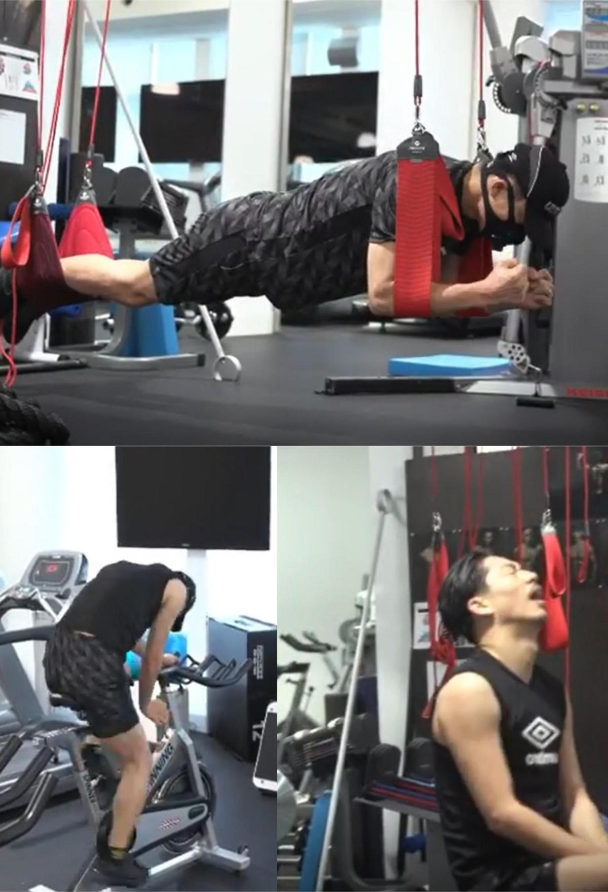 AKIRA上傳多支鍛鍊影片預熱線上演唱會。(翻攝AKIRA Instagram)