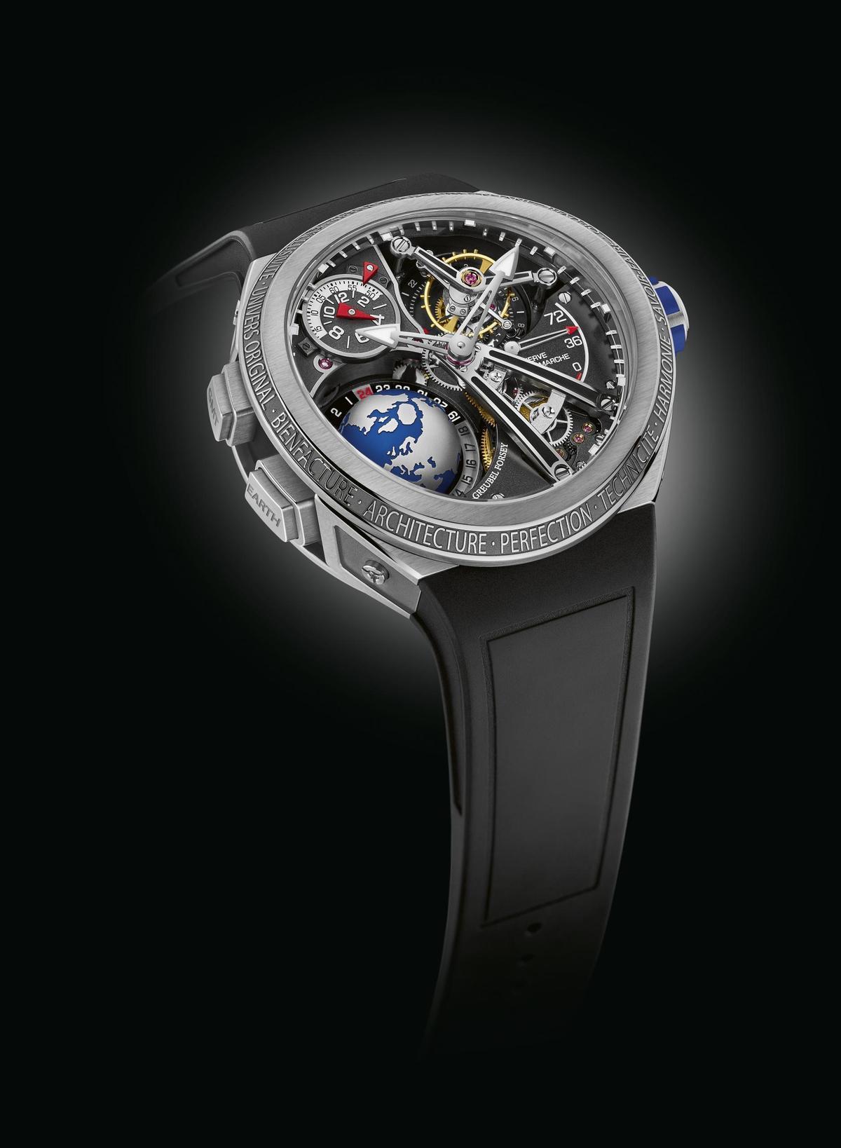 GREUBEL FORSEY第一款運動錶:GMT Sport,兼容品牌多項經典的特色與複雜結構,像是立體地球以及24秒陀飛輪。定價NT$17,200,000。