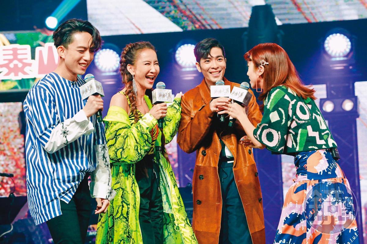 近年李玟(左二)頻頻在綜藝節目露臉,她曾為《聲林之王2》擔任飛行導師,與林宥嘉(左一)、蕭敬騰(右二)相見歡。右一為Lulu。