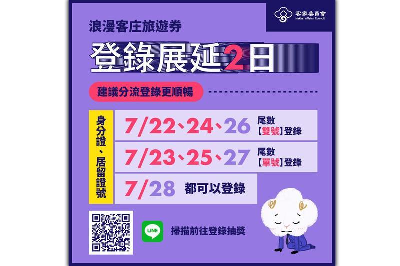 客委會「浪漫客庄旅遊券」登錄期限展延至28日,並建議民眾採分流登記。(翻攝自客家委員會 Hakka Affairs Council臉書)
