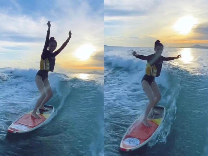 Angelababy在微博貼出練習衝浪的影片,在綜藝節目《奔跑吧》立下「女漢子」人設的她,衝浪技術也相當不錯。(Angelababy微博)