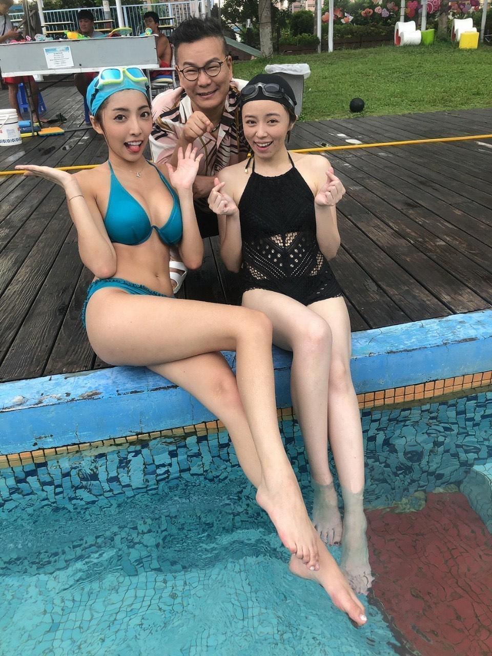 沈玉琳(後)帶著王瞳(右)和蘿拉去游泳消暑。(民視提供)