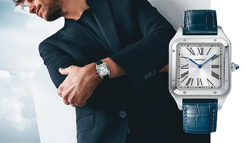 Santos-Dumont腕錶超大型款搭配海軍藍鱷魚皮錶帶,展現父親的典雅大氣。NT$180,000(卡地亞提供)