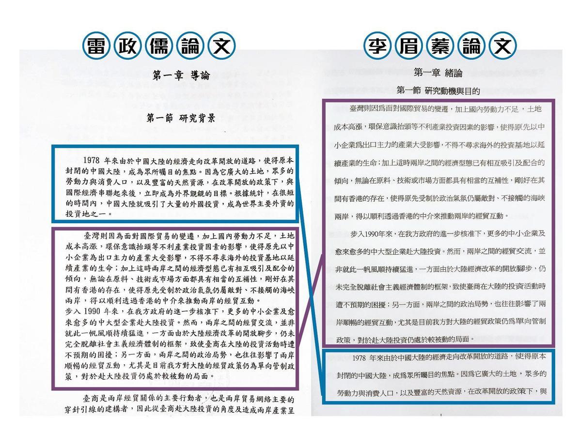 本刊比對李眉蓁與雷政儒的論文,發現李有96%都是複製貼上,甚或調動段落。