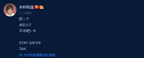 東京今天的新冠肺炎確診人數突破460人,讓木村拓哉也傻眼。(翻攝自木村拓哉微博)