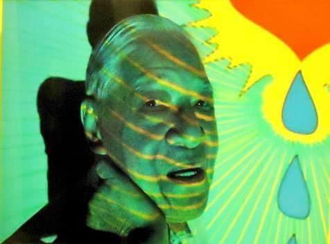 李登輝擔任藝術模特兒,在鏡頭前擺出各式各樣不同的姿勢,顛覆以往的形象。(翻攝自臉書「可愛又迷人的反派角色」,攝影師:佐藤公紀)