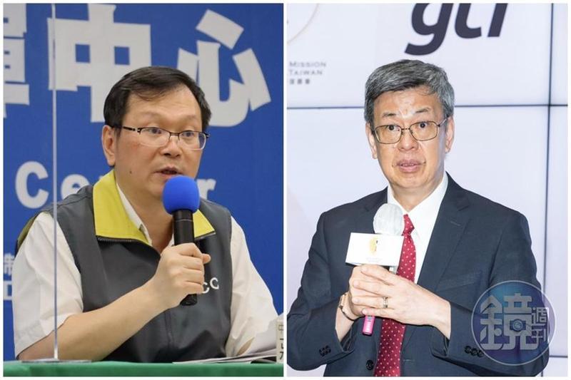 對於前副總統陳建仁(右)日前表示,家戶準備3個月的口罩量是可行的。中央疫情指揮中心發言人莊人祥(左)今天則說,保證口罩到年底之前夠用。(中央流行疫情指揮中心提供/本刊資料照)