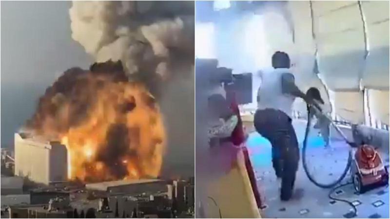 貝魯特港口4日晚間發生大爆炸,一名非裔幫傭的行為獲得網友讚賞。(翻攝推特)