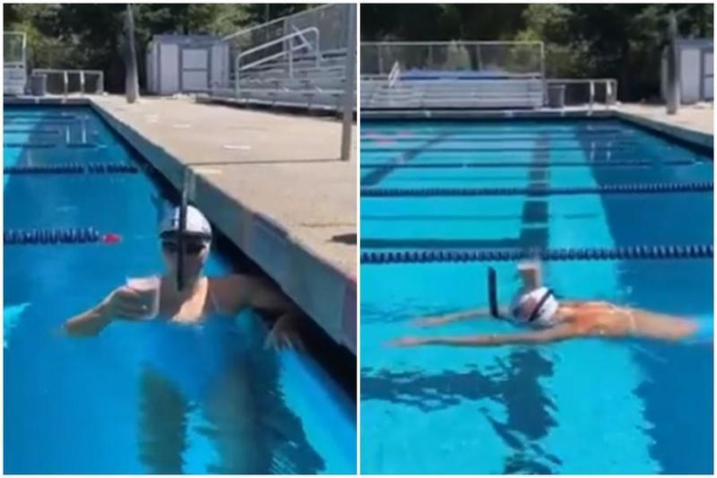 「女飛魚」雷德基頭頂巧克力牛奶,橫跨游泳池。(翻攝自Twitter)