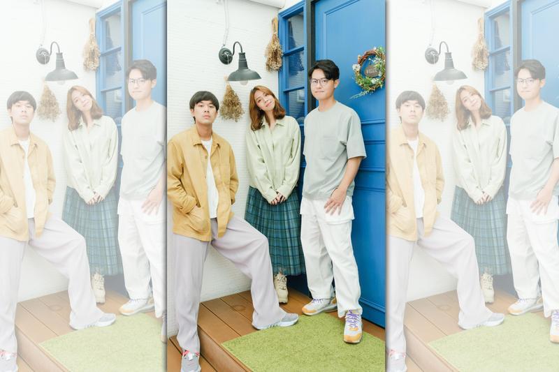 樂團「告五人」由男主唱兼木吉他手潘雲安(左)、女主唱犬青(中)及鼓手哲謙組合而成,他們的專輯因金曲獎入圍4項而一時聲名大噪。(相信音樂提供)