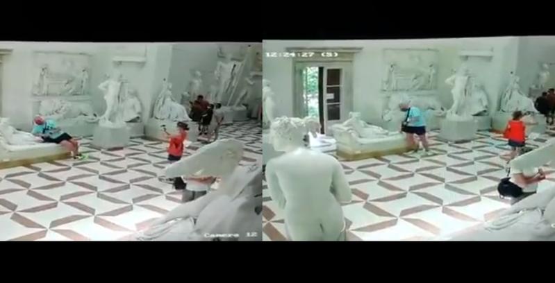 奧地利籍遊客坐壞義大利博物館的藝術品,居然裝傻落跑。(翻攝Vittorio Sgarbi臉書)