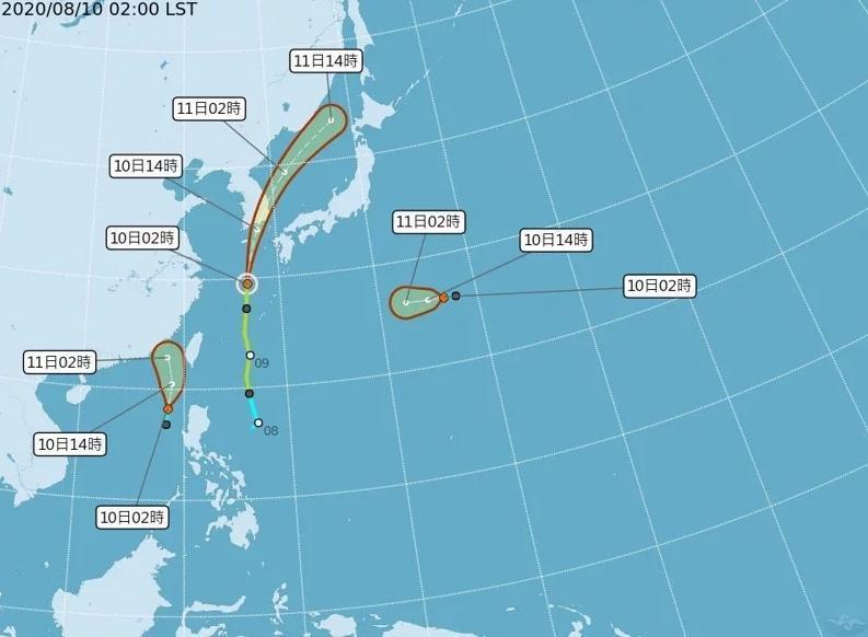 由熱低壓恐將發展為第6號颱風米克拉,預計今日起就會開始影響台灣。(翻攝自氣象局)