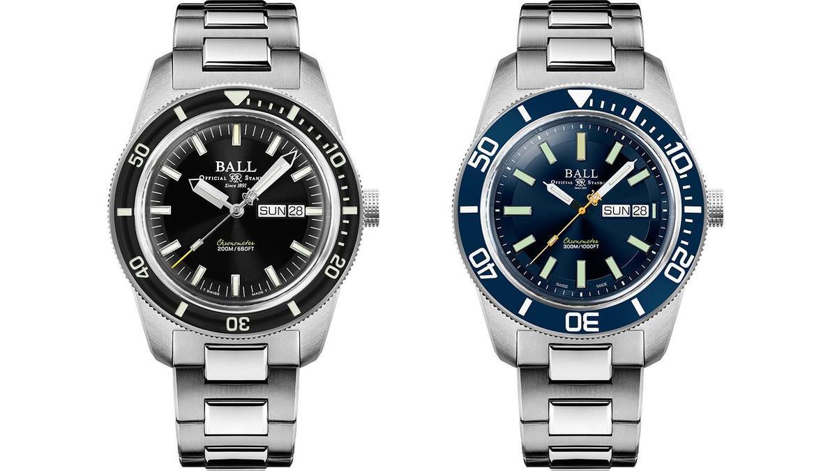 第二代(左)的Skindiver II和第三代的Skindiver Heritage(右)相比,在防水深度、錶圈材質、錶徑和厚度、三點鐘位置的燈管設計、還有燈管支數等處都做了調整,顏色上也新增潛水錶萬年不敗的藍圈藍面配色。
