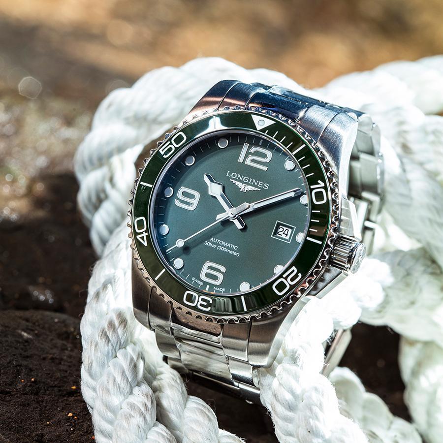浪琴 HydroConquest深海征服者   錶徑41mm、不鏽鋼材質、時間及日期指示、L888.3自動上鏈機芯、防水300米、建議售價NT$ 51,900