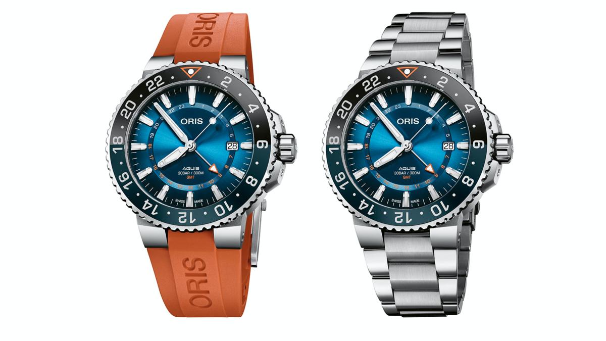 錶徑43.5mm、不鏽鋼材質、時間及日期指示、第二地時間指示、ORIS 798自動上鏈機芯、防水300米、全球限量2000只、建議售價NT$ 80,000(膠帶款)、NT$ 83,000(鍊帶款)