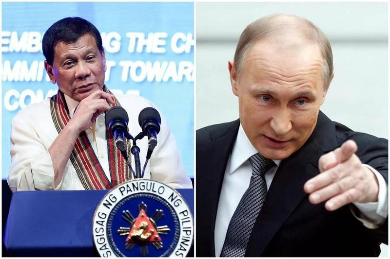 杜特蒂(左圖)表示願第一個接受俄國疫苗接種。(翻攝自Rodrigo Duterte、Vladimir Putin臉書)