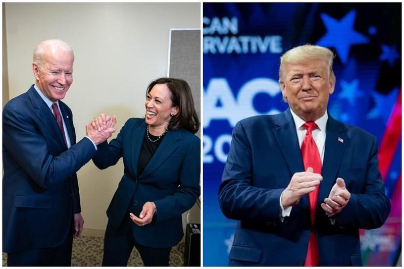 對於拜登(左圖左)挑選賀錦麗當副手(左圖右),川普表示他很意外,並批評她「惹人厭」。(翻攝自Joe Biden推特/Donald J. Trump臉書)