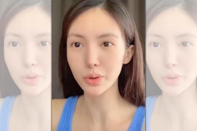 金晨拍攝化妝影片,但講話時嘴巴歪的很明顯。(翻攝自金晨微博)