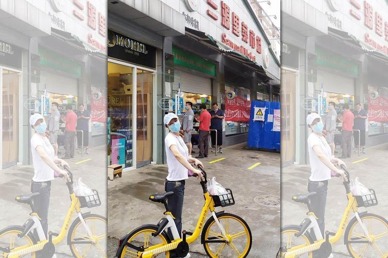 利菁在臉書po出和老公騎腳踏車逛菜市場的照片。(翻攝自利菁臉書)