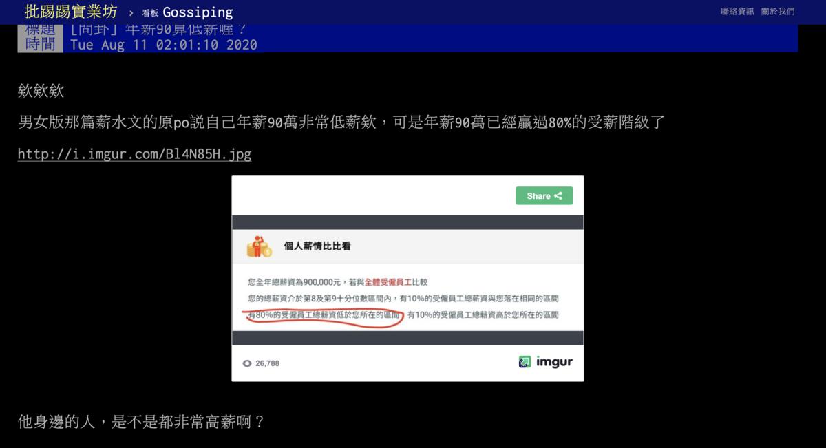 網友po文表示其實年領90萬已經超過近八成民眾。(圖片翻攝自PTT)