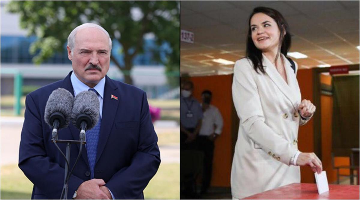 執政26年的盧卡申科(左)稱自己拿下超過8成的選票,打敗反對派候選人季哈諾夫斯卡婭(右)。(翻攝自白俄羅斯總統府/推特@LinkeviciusL )