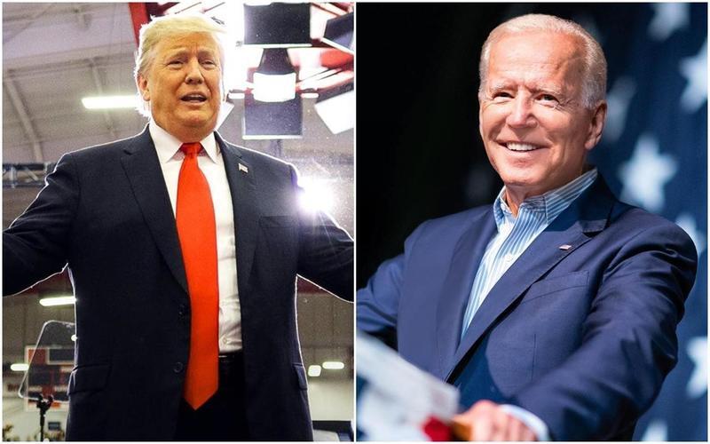 CNN最新民調顯示,川普(左圖)搭檔彭斯與對手拜登(右圖)搭檔賀錦麗的組合,已縮小至4%誤差範圍內。(翻攝自Donald Trump/Joe Biden臉書)