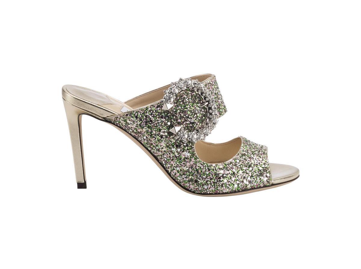 深薄荷綠色粗織亮片SAF高跟涼鞋,NT$38,800。(藍鐘提供)