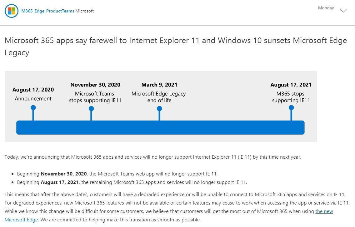 微軟宣布,明年起將終止支援IE瀏覽器。(翻攝自微軟官網)