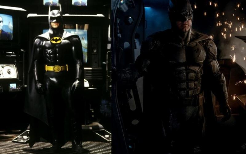 電影第一代蝙蝠俠麥可基頓(左)與上一代蝙蝠俠班艾佛列克(右),紛紛從退休行列中被找出來加入電影《閃電俠》的演出陣容。(Warner Bros. Entertainment提供)