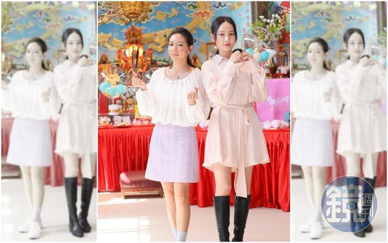 林映唯(右)與陳妤(左)求了300條紅線,要在今晚的映後活動送給影迷,祝福大家脫單。
