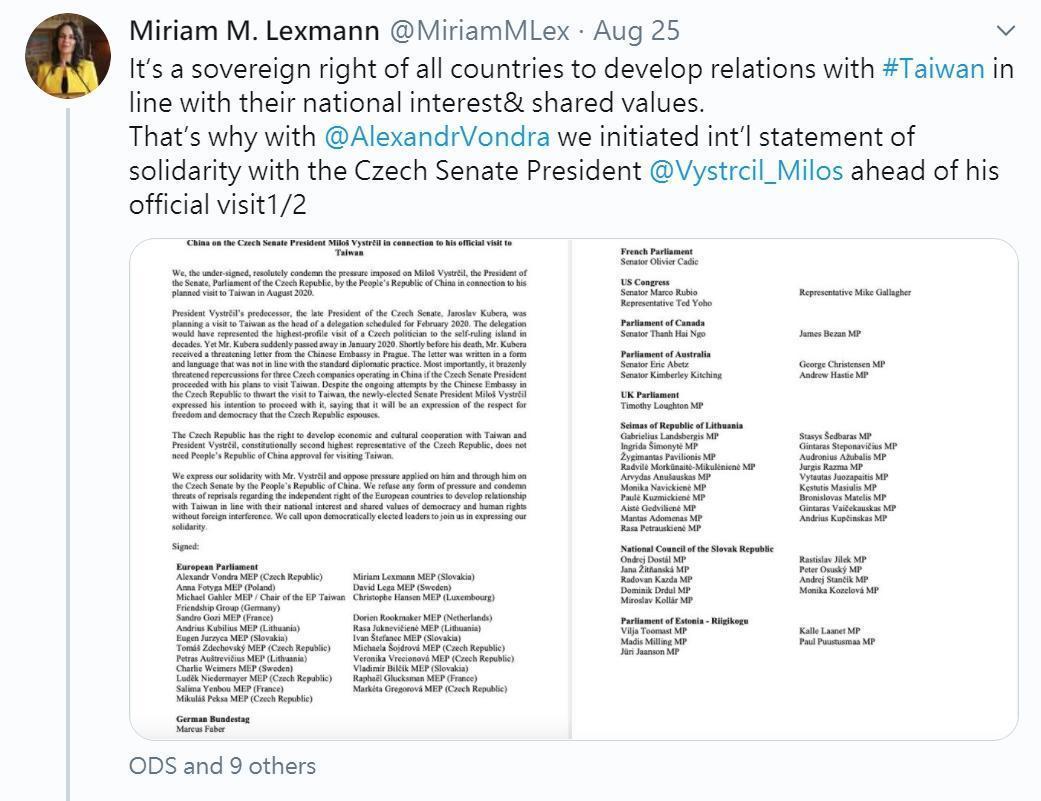 歐美議員聯合聲明,支持捷克代表團參訪台灣,譴責中國打壓。(翻攝自推特@MiriamMLex)