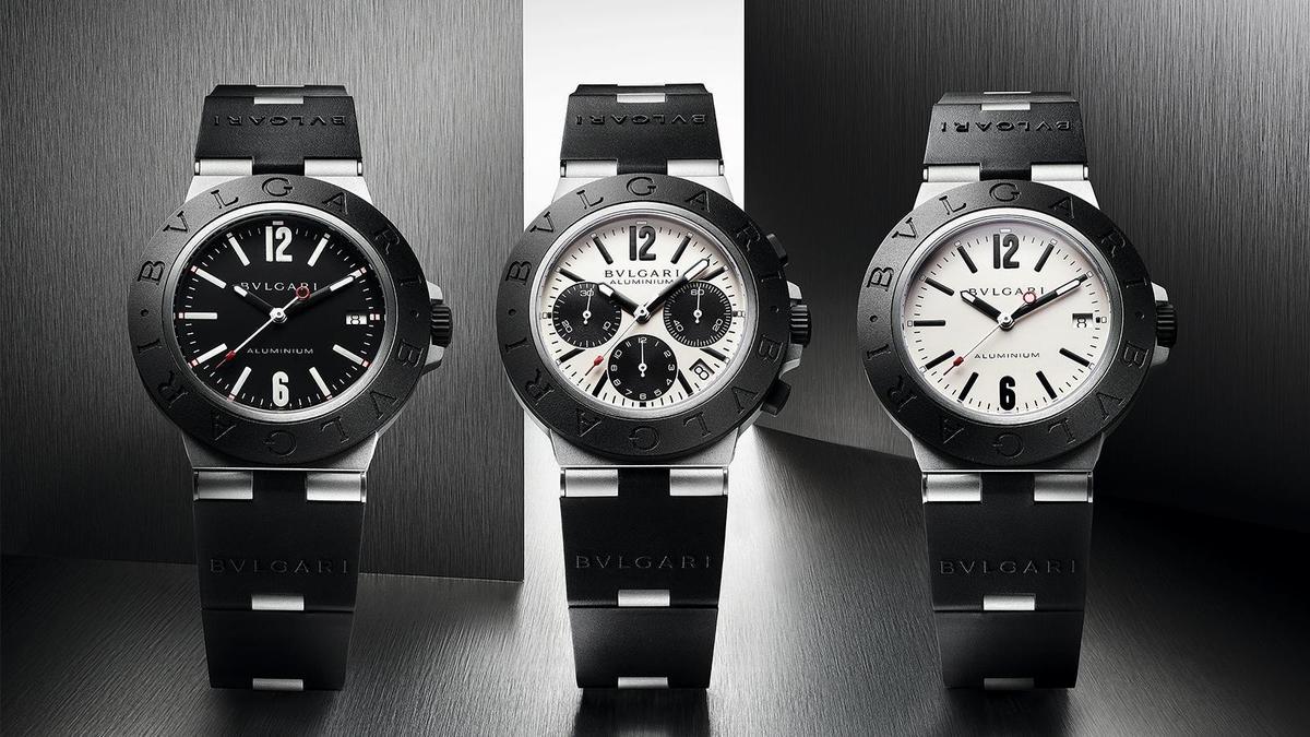 Aluminium三針日期款(左、右)|錶徑40mm、鋁材質錶殼、時間及日期指示、B77自動上鏈機芯、防水100米、建議售價約NT$   91,400。Aluminium計時碼錶(中)|錶徑40mm、鋁材質錶殼、時間及日期指示、計時碼錶功能、B130自動上鏈機芯、防水100米、建議售價約NT$ 131,600