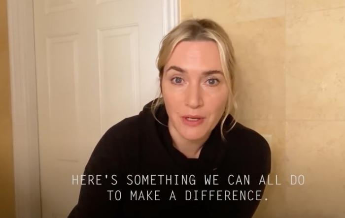 今年3月凱特溫斯蕾應邀拍攝正確洗手的介紹短片。(翻攝自Columbia Public Health官方YouTue頻道)