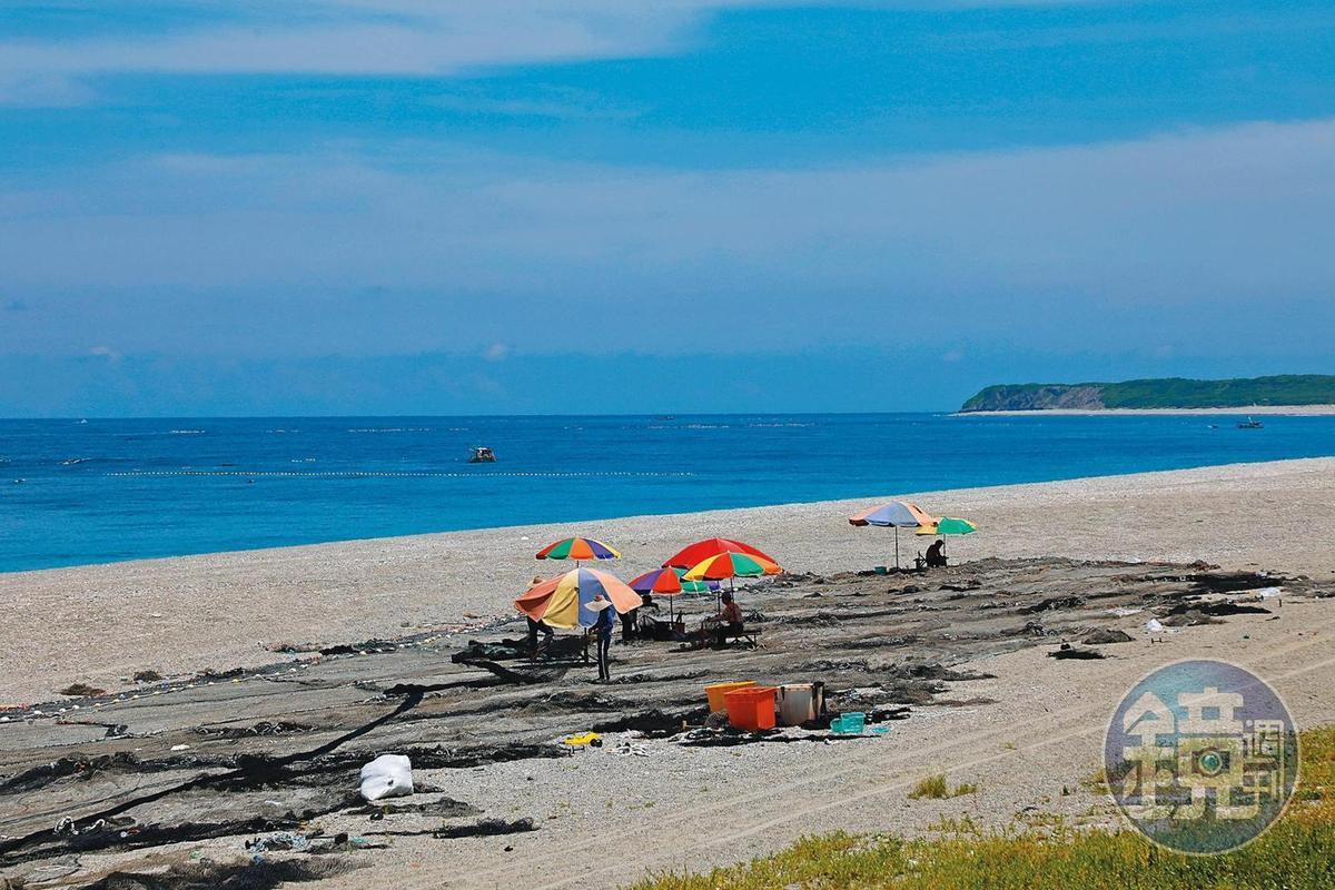 咖啡館外的海邊,漁民們正忙著縫補定置漁網。