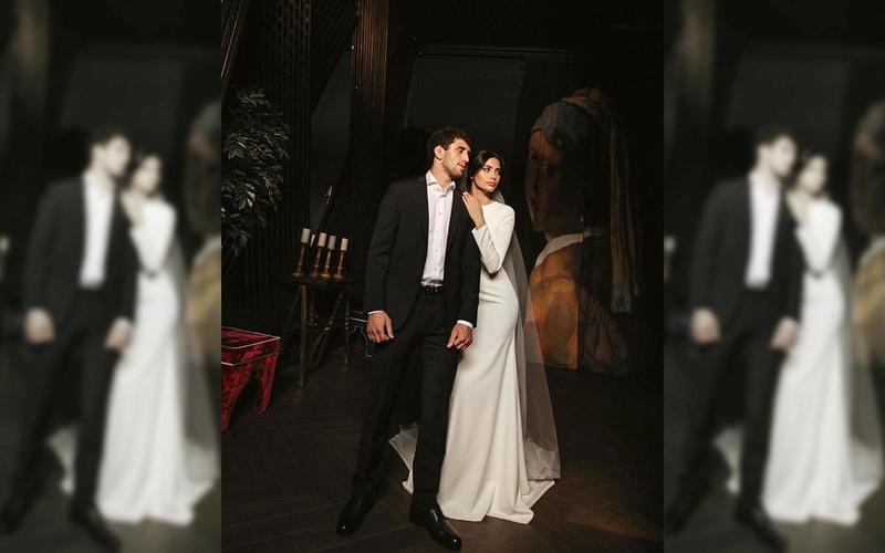 摔角選手與豪門千金在婚禮前曾拍攝絕美婚紗照。(翻攝自IG@_love_story____r15)