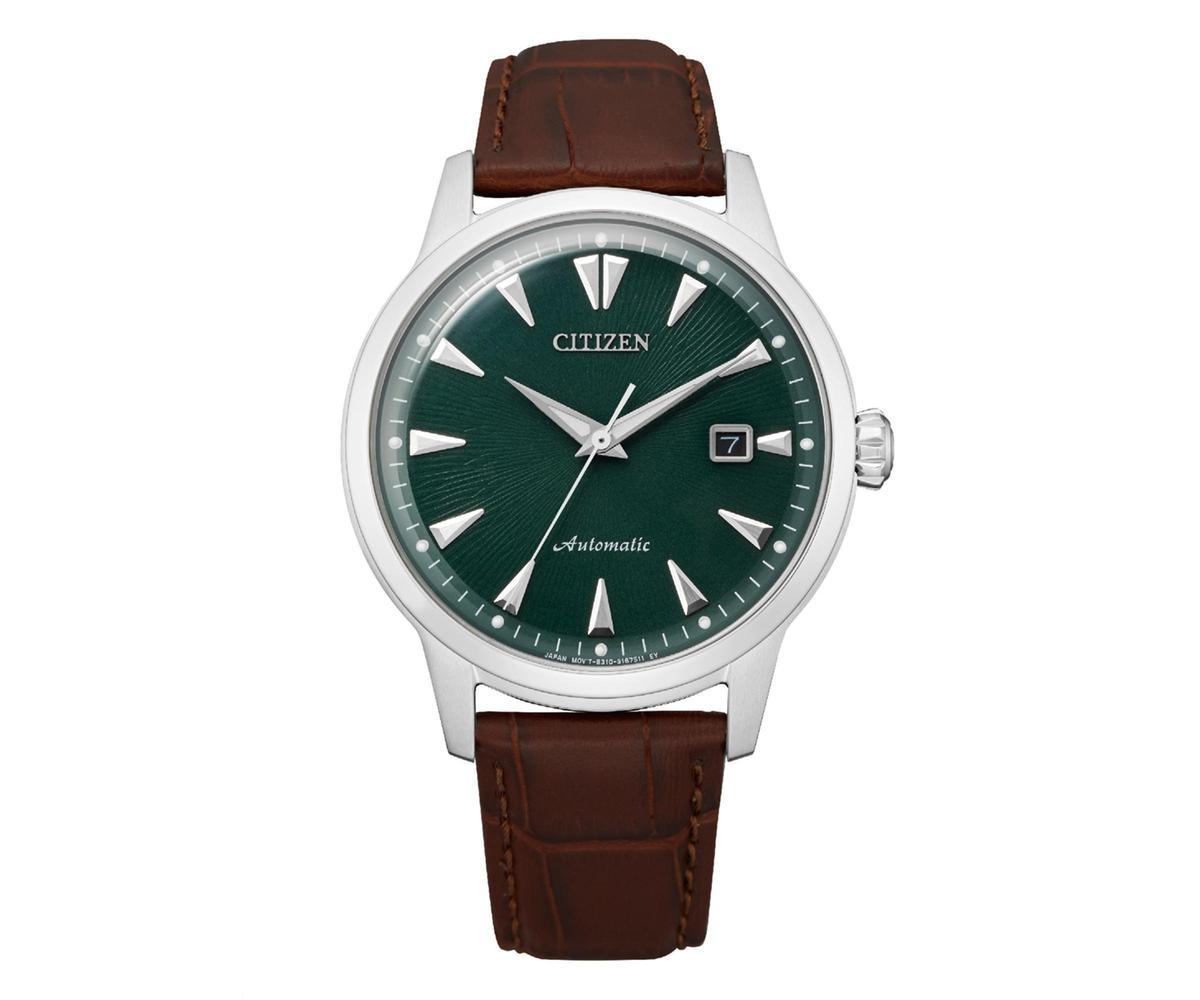 CITIZEN NK0001-25X,搭配小牛皮錶帶,定價NT$15,800。