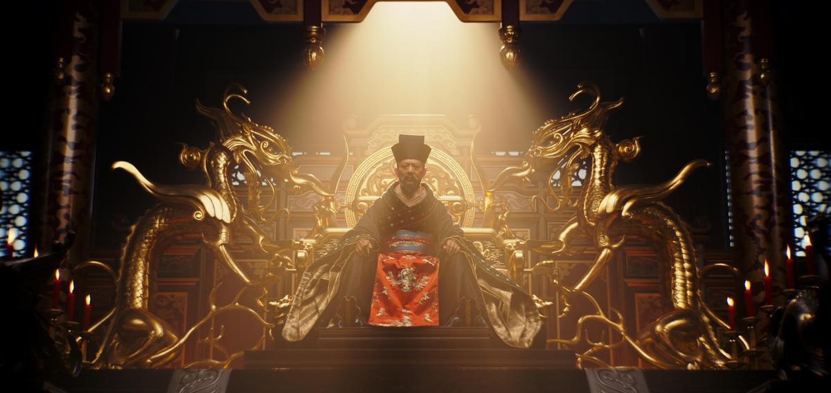 片中搭建的王宮,以及龍椅等裝飾等,雕樑畫棟氣勢恢宏,功夫皇帝李連杰更飾演皇帝一角。(迪士尼提供)
