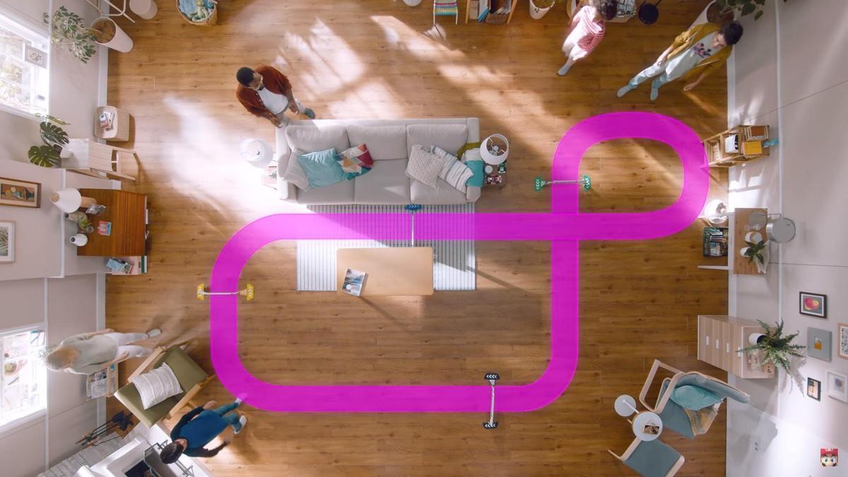 遊戲賽道可以自行規劃,客廳就是賽車場。(翻攝自Nintendo官方YouTube)