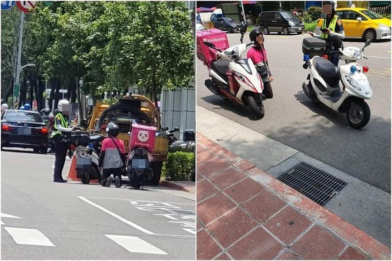一名熊貓外送員在馬路上向女警下跪,原來是因為騎上人行道被開單,竟跪求警察銷單。(翻攝自《爆廢公社二館》)