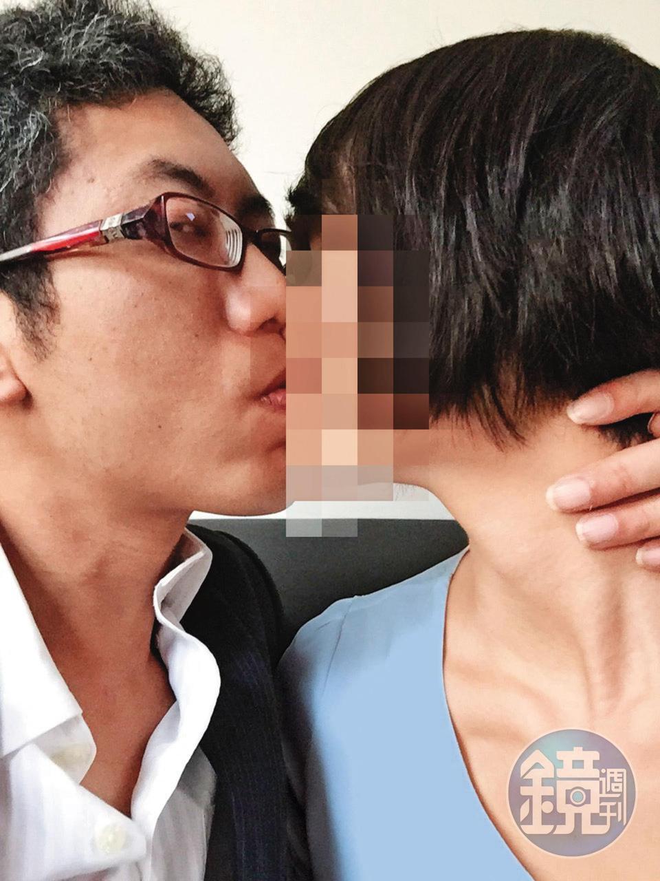 丁允恭是在2014年擔任高雄市新聞局長期間與Y女交往,2人互動親密。(Y女提供,照片經變裝處理)