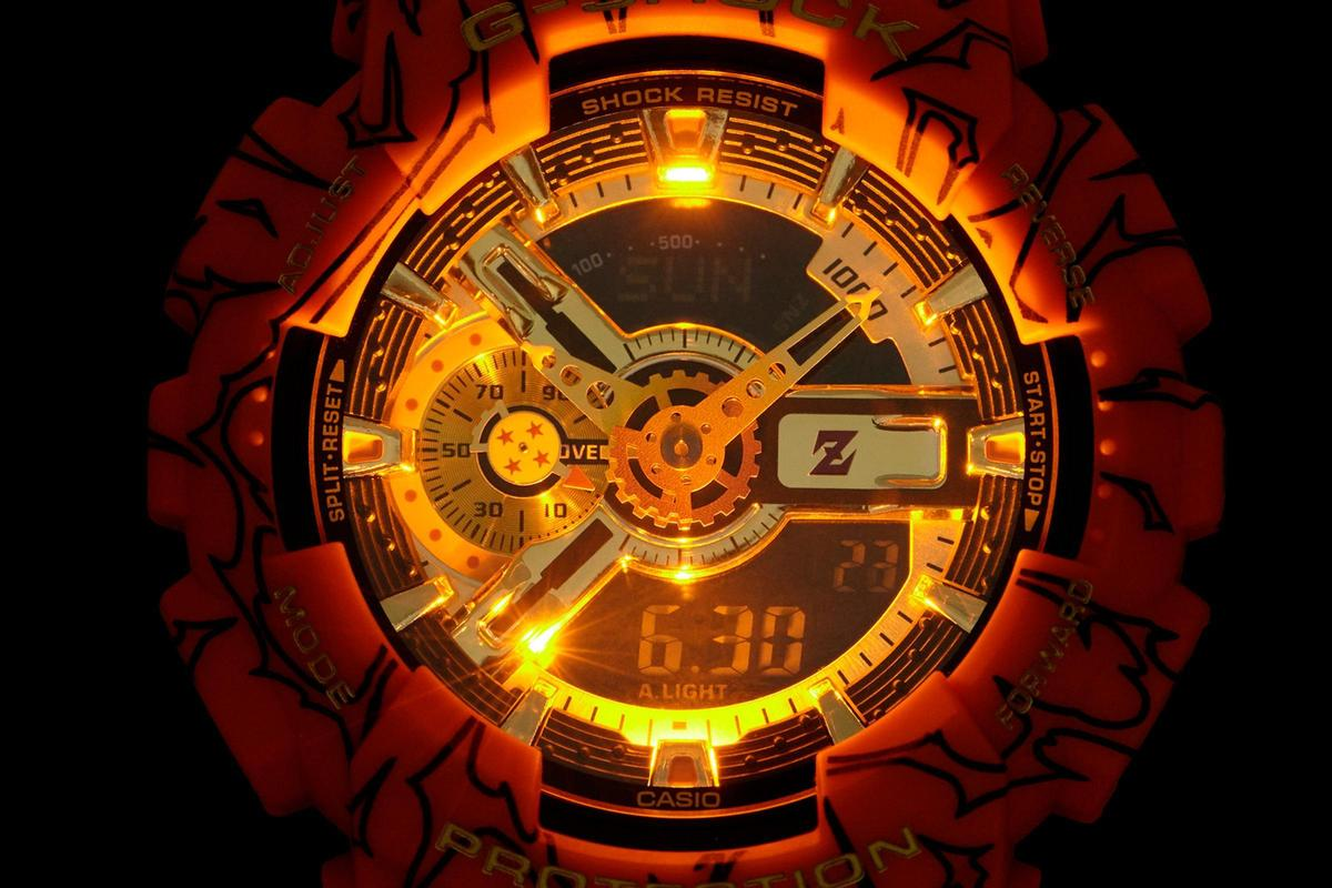GA-110JDB以黑橘貫穿全錶,並採用琥珀橘LED照明,夜光功能相當騷包!